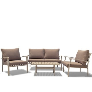 Courtyard Casual Columbia Aluminum Outdoor 4 pc Sofa Set with Cushions