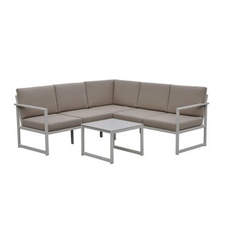 Courtyard Casual Oceana Aluminum Outdoor 3pc Sectional Set with Cushions