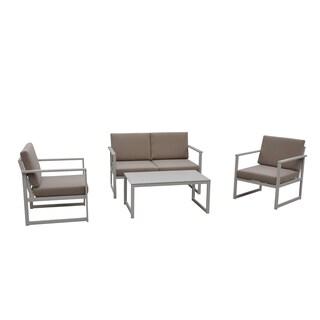 Courtyard Casual Oceana Aluminum Outdoor 4 pc Sofa Set with Cushions