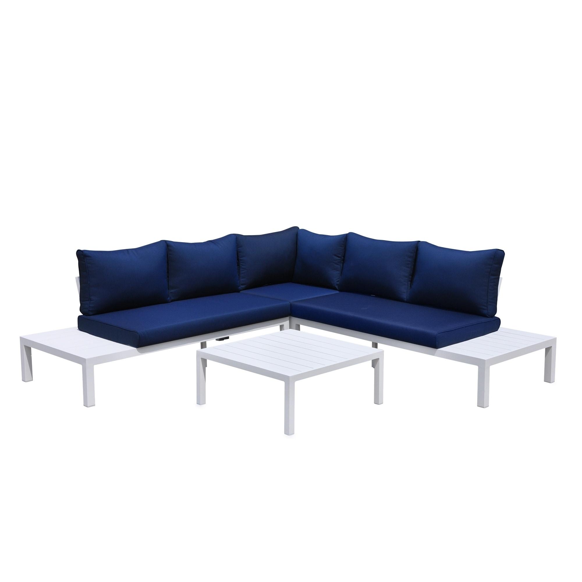 Admirable Courtyard Casual Osborne Aluminum Outdoor 4 Pc Sectional With Cushions Spiritservingveterans Wood Chair Design Ideas Spiritservingveteransorg