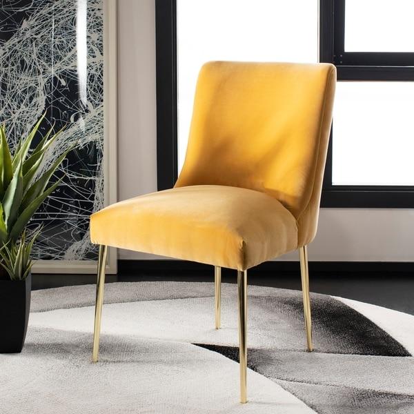 Shop Safavieh Couture Nolita Velvet Accent Chair Mustard