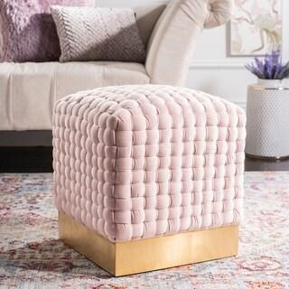 Safavieh Couture Ravyn Woven Velvet Ottoman - Pink / Gold