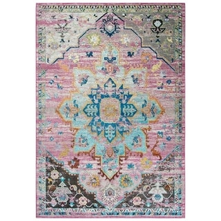 "Morocco Meadallion Blue/Gray Area Rug - (8'10"" x 11'10"") - 8'10"" x 11'10"""