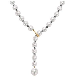 """DaVonna Adjustable 14k Gold 8-9mm White Freshwater Pearl and 4-5mm Black Diamond Y Necklace, 21"""""""