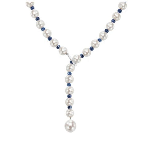 """DaVonna Adjustable 14k White Gold 8-9mm White Freshwater Pearl and 4-5mm Gemstones Y Necklace, 21"""""""