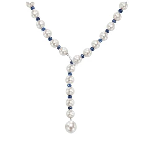 """DaVonna Adjustable Sterling Silver 8-9mm White Freshwater Pearl and 4-5mm Gemstones Y Necklace, 21"""""""