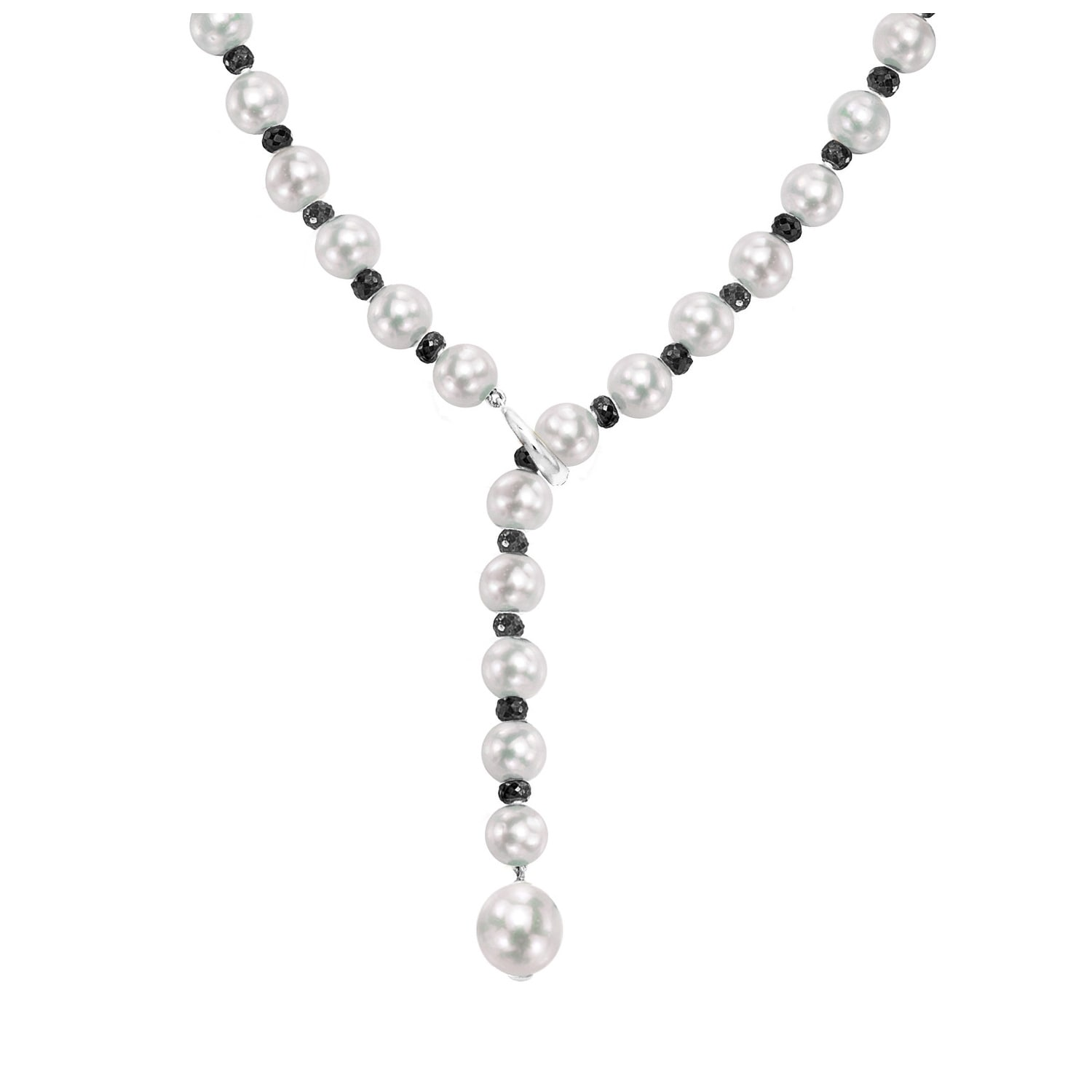 Jewelry Necklaces Pearls 14k White Gold 8-9mm Grey Rice Freshwater Cultured Pearl Necklace