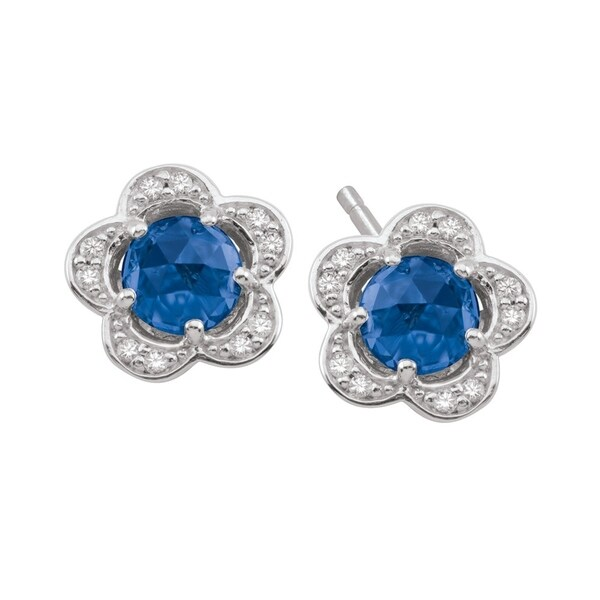 e00f8bad4 Shop Sterling Silver September Birthstone Flower Blue Cubic Zirconia  Earrings - On Sale - Free Shipping Today - Overstock - 24216929
