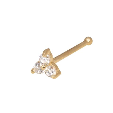 Curata Solid 14K Yellow or White Gold 3-mm 20 Gauge 3-stone Cubic Zirconia Nose Stud