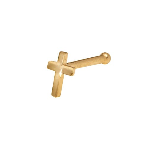 Curata Solid 14K Yellow or White Gold 2-mm 20 Gauge Polished Beveled Cross Nose Stud