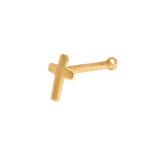 Curata Solid 14K Yellow or White Gold 2-mm 20 Gauge Polished Cross Nose Stud