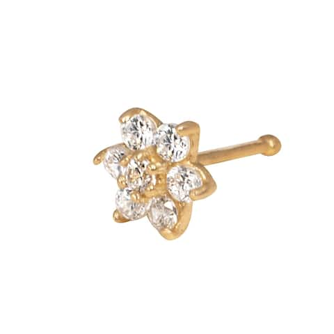 Curata Solid 14K Yellow or White Gold 4-mm 20 Gauge Cubic Zirconia Flower Nose Stud