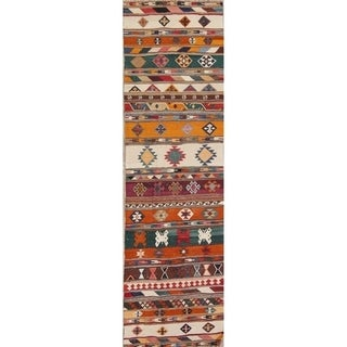 "Hand Woven Wool Tribal Kilim Shiraz Kashkoli Persian Rug - 9'9"" x 2'9"" runner"