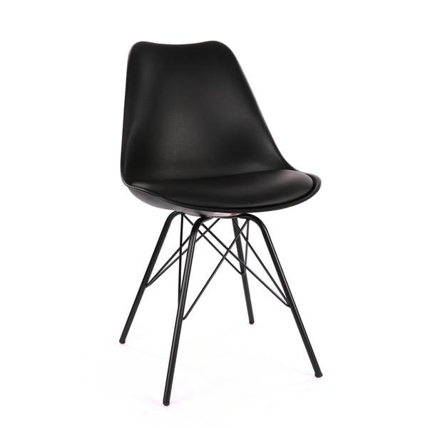 Shop Viborg Black Mid Century Side Chair Black Metal Base Set Of 2 Free Shipping