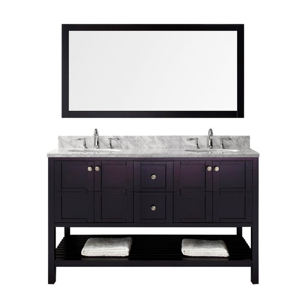 "Winterfell 60"" Double Bathroom Vanity Set in Espresso Mirror Faucets"