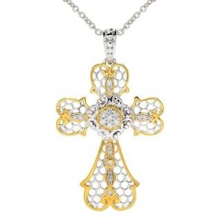 Michael Valitutti Palladium Silver Diamond Openwork Cross Pendant