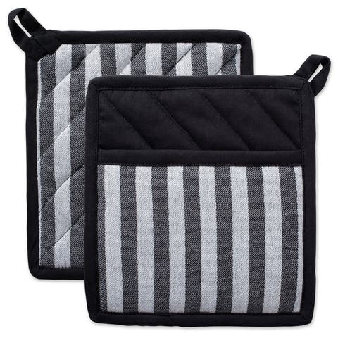 DII Black And White Kitchen Potholder Set (Set of 2)