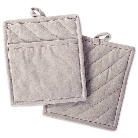DII Solid Chambray Potholder Set (Set of 2)
