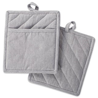 DII Solid Chambray Potholder Set (Set of 2) - N/A