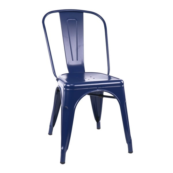 Amalfi Matte Navy Steel Stackable Side Chair (Set of 4)