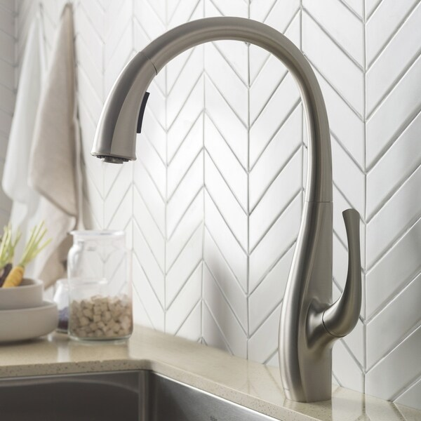 Kraus KPF-1675 Ansel 1-Hole 2-Function Pull-Down Kitchen Faucet, Spot Free Stainless Steel, Chrome, Matte Black