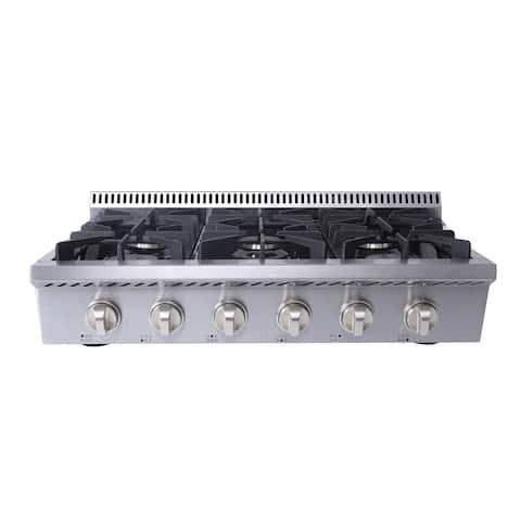 "Thor Kitchen - 36"" 6 Burner Gas Rangetop in Stainless Steel"