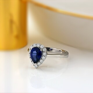18k Gold 1 1/3ct Pear Shaped Sapphire and 1/3ct TDW Halo Diamond Ring by Auriya