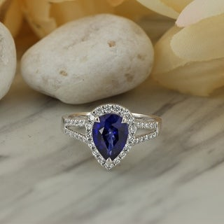 18k Gold 2 5/8ct Pear Shaped Sapphire and 1/2ct TDW Diamond Halo Engagement Ring by Auriya