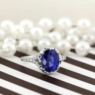 Auriya 18k White Gold 3 1/2ct Sapphire and 1/4ct TDW Diamond Engagement Ring