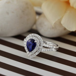 18K Gold Pear Shaped 1 3/8ct Royal Blue Sapphire and 5/8ct TDW Double Halo Diamond Engagement Ring by Auriya