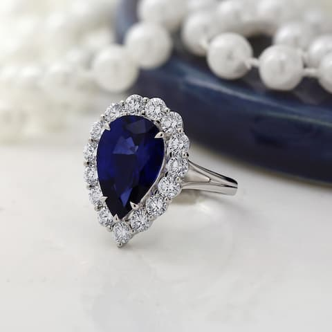 Auriya 18k Gold 6 5/8ct Pear-cut Sapphire Halo Diamond Engagement Ring 1 3/4ct TDW