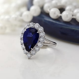 Auriya 6 5 8ct Blue Sapphire Princess Diana Halo Diamond Engagement Ring 1 3 4ctw 18k Gold