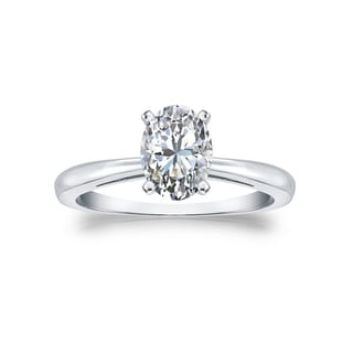 Oval Cut Solitaire Diamond Engagement Ring 1ctw 14k Gold By Auriya