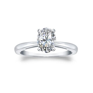14k Gold Certified 1ct TDW Oval Solitaire Diamond Engagement Ring by Auriya
