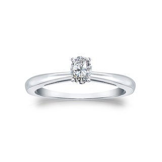14k Gold 1/4ct TDW Oval Solitaire Diamond Engagement Ring by Auriya