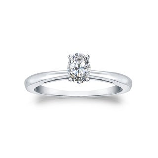 14k Gold 1/3ct TDW Oval Solitaire Diamond Engagement Ring by Auriya
