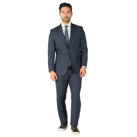 Mens Wool Stain Resistant 2pc Modern Fit Traveler Suit w 2 Pairs of Pants