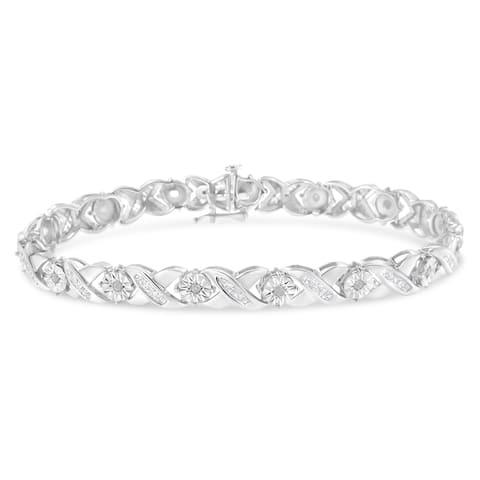 Sterling-Silver 1ct TDW Diamond X-Link Bracelet (I-J, I2-I3)