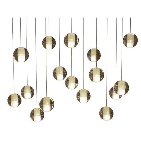 Orion 16 Light Rectangular Floating Glass Globe LED Chandelier, Brass