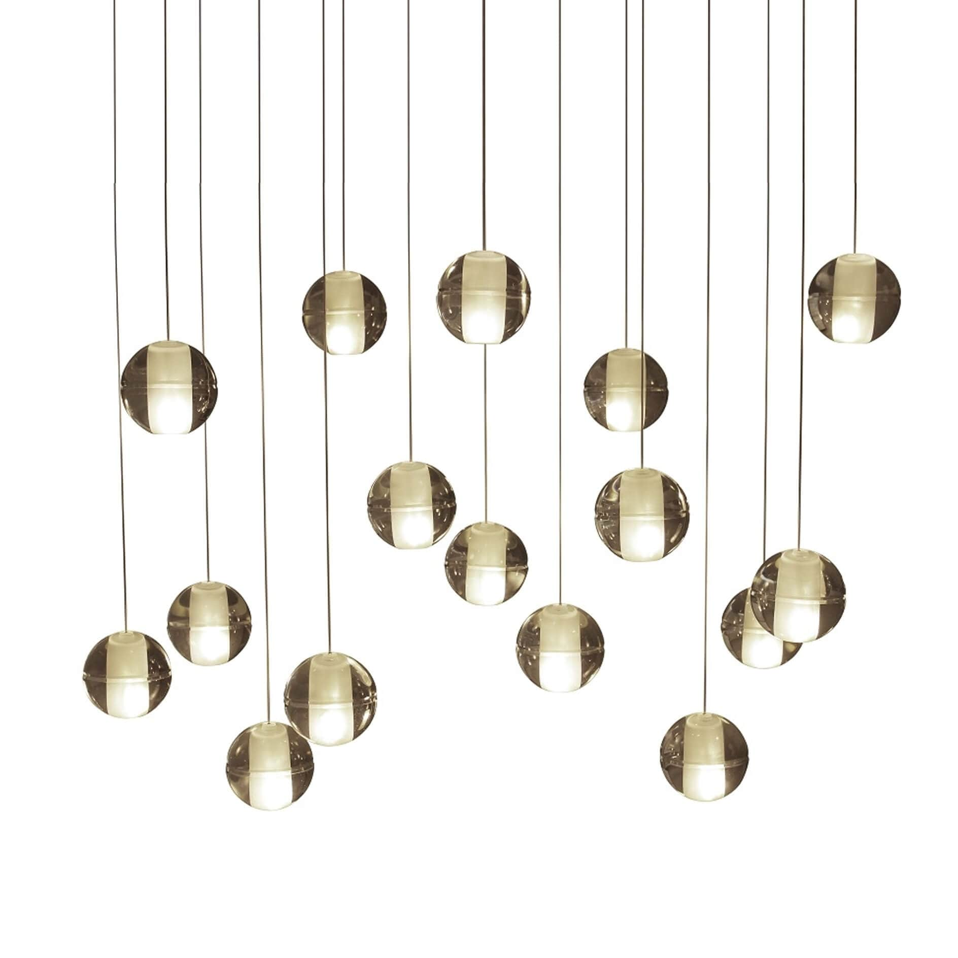 Orion 16 Light Rectangular Floating Glass Globe Led Chandelier Brass On Sale Overstock 24218328