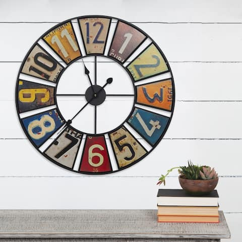 "Gallery Solutions 24"" Vintage License Plates Round Wall Clock"
