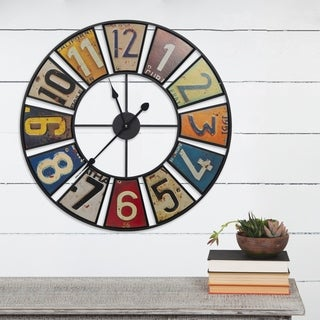 """Gallery Solutions 24"""" Vintage License Plates Round Wall Clock"""
