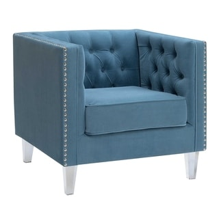 HomeRoots Furniture Contemporary Velvet Fabric Button Tufted Silver Nailhead Tuxedo Arm Chair with Clear Acrylic Legs - Teal