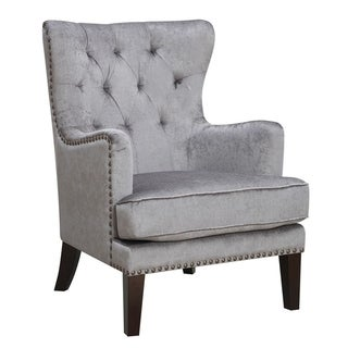 HomeRoots Furniture Contemporary Solid Wood Tufted Wingback Accent Chair - Gray