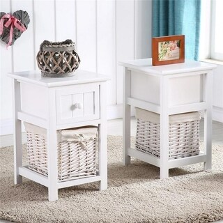 Modern Wood Storage Accent Nightstand 1/2-drawer End Side Table