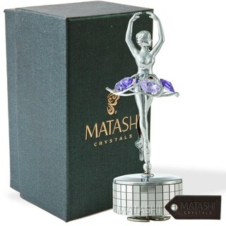 Matashi Chrome Plated Silver Ballet Dancer Wind-Up Music Box Swan Lake Table Top Ornament w/ Purple Crystals