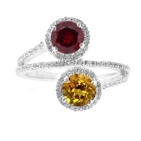 Sterling Silver with Natural Citrine, Garnet and White Topaz Ring