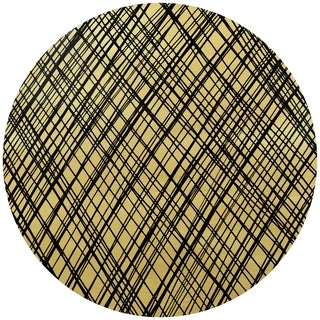 """Gold Abstract"" Circular Gold Canvas Printed on 2"" Wood Wall Art - Multi"