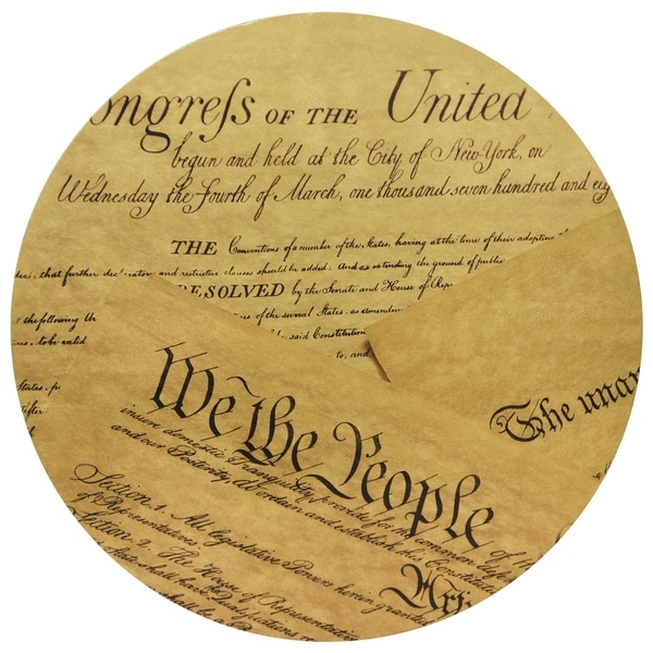 """""""We The People"""" Circular Gold Canvas Printed on 2"""" Wood Wall Art - Multi"""