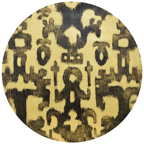 """Abstract"" Circular Gold Canvas Printed on 2"" Wood Stretcher Wall Art - Multi"